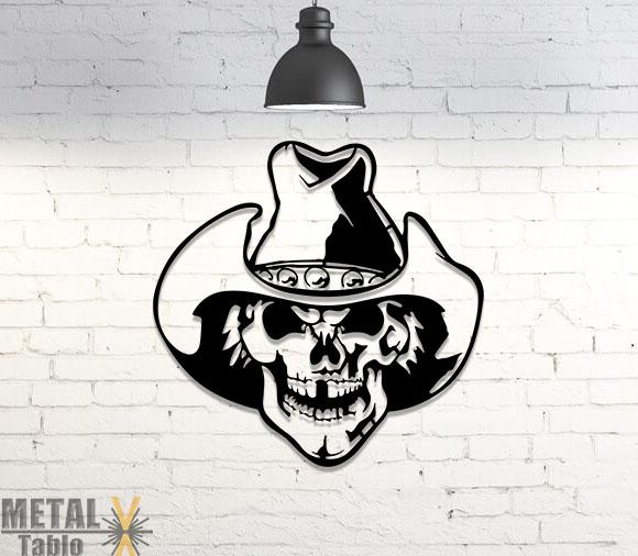 Kovboy Kuru Kafa Lazer Kesim Metal Tablo
