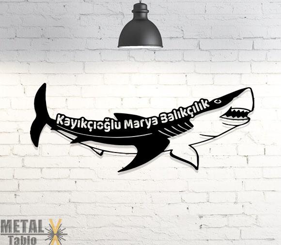 Balıkçı Köpek Balığı Metal Tablo