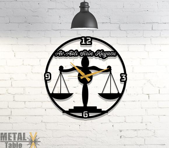 Kişiye Özel Adalet Terazi Metal Duvar Saati