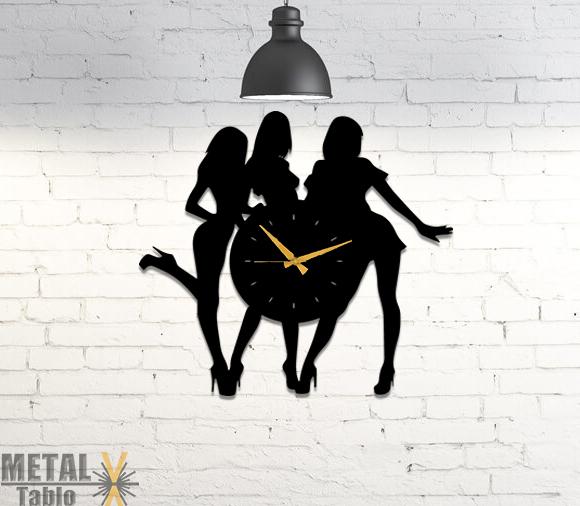 3 Kız Metal Duvar Saati