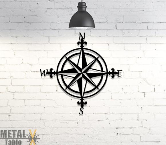Pusula Lazer Kesim Metal Tablo Duvar Dekoru