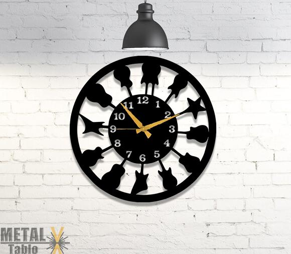 Gitarcılara Özel Metal Duvar Saati