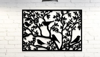 Çerçeveli Daldaki Kuşlar Metal Tablo