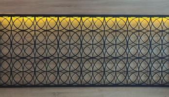 Dekoratif Lazer Kesim Ledli Yatak Başı Metal Tablo
