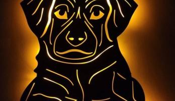 Köpek Yavrusu Ledli Metal Tablo Gece Lambası