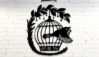 Kuş Kafesi Metal Tablo Duvar Dekoru