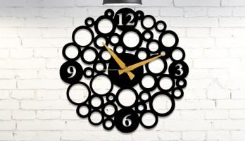 Halkalı Lazer Kesim Metal Duvar Saati