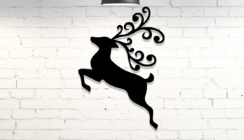 Noel Geyiği Lazer Kesim Metal Tablo Duvar Dekoru