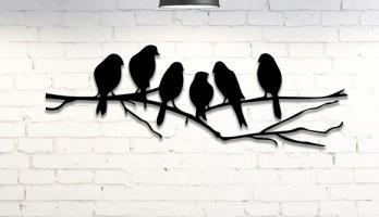 Dala Konmuş Kuşlar Metal Tablo