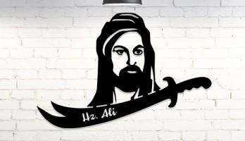 Hz. Ali ve Kılıcı Lazer Kesim Metal Tablo