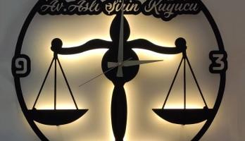 Adalet Terazi Ledli Metal Duvar Saati