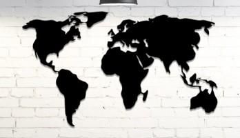 2 Parça Dünya Haritası Lazer Kesim Metal Tablo