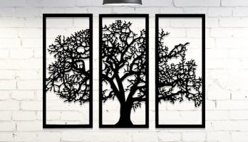 3 Parça Ağaç Lazer Kesim Metal Tablo Duvar Dekoru