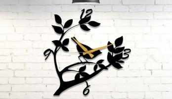 Ağaç Dalında Kuş Metal Duvar Saati