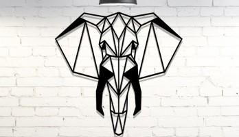 Afrika Fili Geometrik Lazer Kesim Metal Tablo