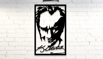 Atatürk Portre ve İmzası Metal Lazer Kesim Dekorasyon