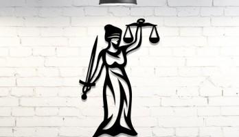Adalet Tanrıçası Duvar Dekoru Metal Tablo