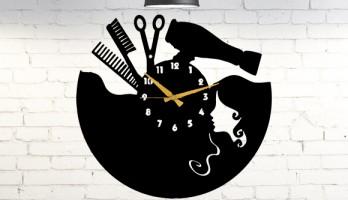 Bayan Kuaförlerine Özel Tasarım Metal Duvar Saati