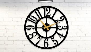 Büyük Rakamlı Yuvarlak Metal Duvar Saati 2