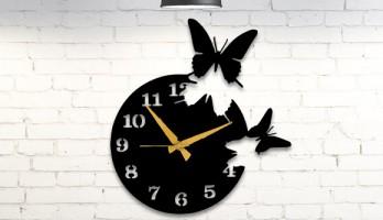Uçuşan Kelebekler Metal Duvar Saati