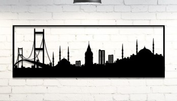 İstanbul Silüeti Lazer Kesim Metal Tablo