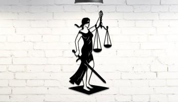 Adalet Sembolu Themis Lazer Kesim Metal