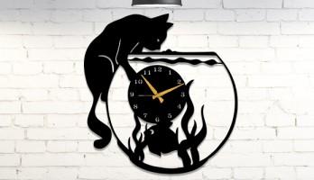Kedi Balık ve Akvaryum Metal Duvar Saati