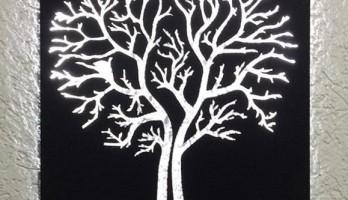 Dekoratif Ağaç Ledli Metal Tablo Gece Lambası