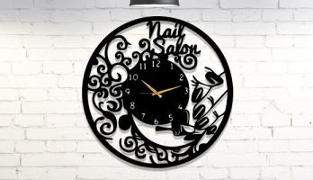 Manikür Salonuna Özel Tasarım Metal Duvar Saati