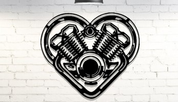 Motor Kalp Lazer Kesim Metal Tablo