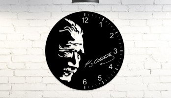 Atatürk İmzalı Portre Metal Duvar Saati
