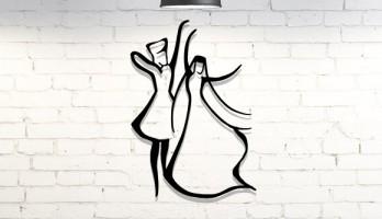 Kafkas Çerkes Dansı Lazer Kesim Metal Tablo