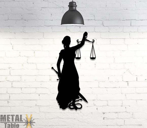 Adalet Tanrıçası Duvar Dekorasyonu Metal Tablo
