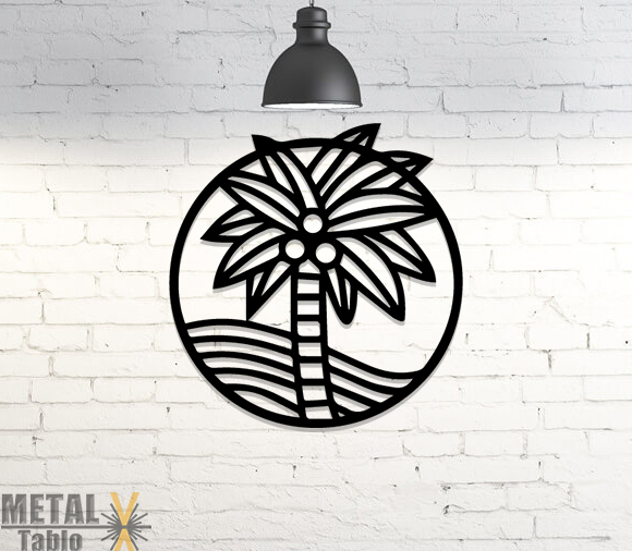 Palmiye Ağacı Lazer Kesim Metal Tablo