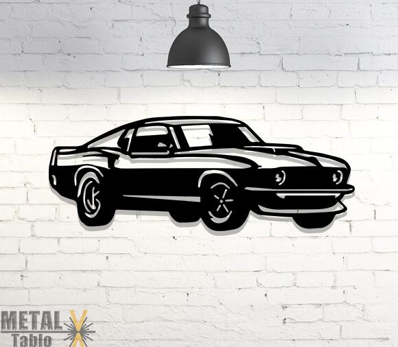 Ford Mustang Araba Lazer Kesim Metal Tablo