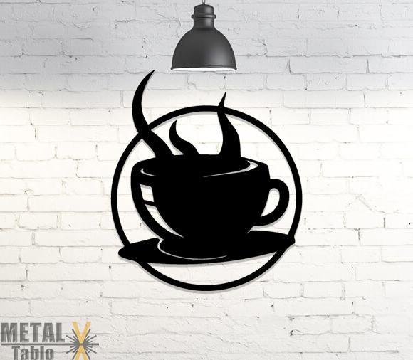 Kahve Fincanı Metal Lazer Kesim Duvar Dekoru