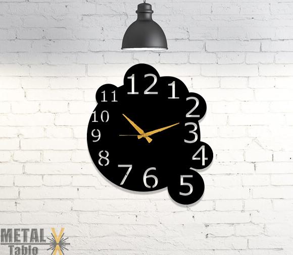 Büyük Rakamlı Metal Lazer Kesim Duvar Saati